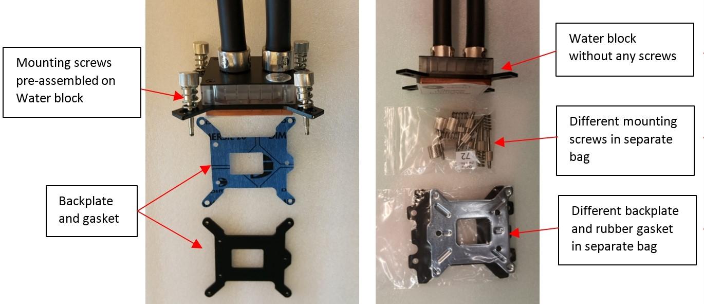 Deutliche Unterschiede: Links die Revision 1.0 (betroffen) und rechts die aktuelle Revision 1.1 - Bild: EK Water Blocks