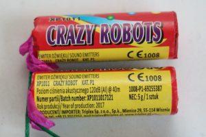"Blitzknallkörper ""Crazy Robots"" der Fa. Triplex in der ""P1""-Einstufung  Foto: LKA Berlin ©"